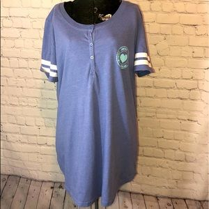 JUST BE PAJAMAS GOWN PURPLE WHITE GRAPHIC SZ L